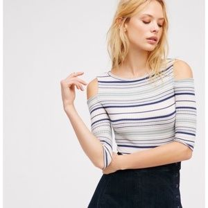 Free People Striped Cutout Shoulder Rory Tee Small